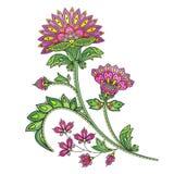Flor abstracta dibujada mano del color Ejemplo étnico del vector Fotos de archivo