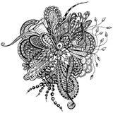 Flor abstracta en el estilo del garabato ilustración del vector