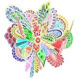 Flor abstracta en el estilo del garabato stock de ilustración
