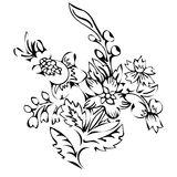 Flor abstracta, flor de la fantasía, imágenes que colorean, bosquejo monocromático, plantas del garabato, vector blanco y negro Foto de archivo