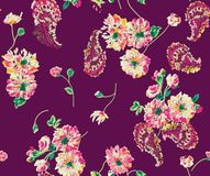 Flor abstracta inconsútil Paisley de la acuarela con el fondo libre illustration