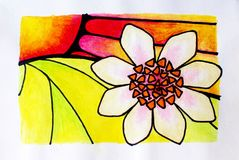 Flor abstracta y puesta del sol - pintura de la historieta del watercolour fotografía de archivo libre de regalías