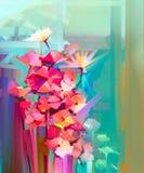 Flor abstrata da mola da pintura a óleo ilustração stock