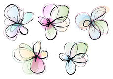 Flores abstratas, grupo do vetor ilustração royalty free