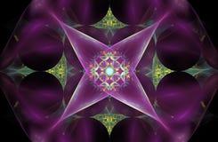 Flor abstrata do fractal sob a forma de um símbolo quatro-aguçado em um fundo cor-de-rosa com um teste padrão no centro Fotos de Stock Royalty Free