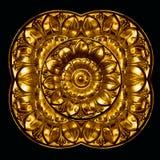 Flor adornada en el tirón de cobre amarillo del cajón de la vendimia Foto de archivo libre de regalías