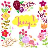 Flor ajustada com tipografia ilustração do vetor