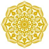 Flor amarela da garatuja isolada no branco Mandala do esboço Fotografia de Stock