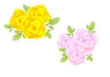 Flor amarela e azul com fundo branco Fotografia de Stock Royalty Free