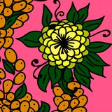 Flor amarela e bagas alaranjadas ilustração do vetor