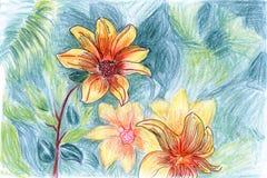 Flor amarela Hand-painted Ilustração do Vetor