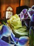 Flor amarilla clara de las rosas y de Violet Orchids Foto de archivo libre de regalías
