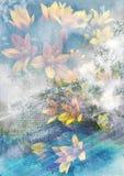 Flor amarilla con el fondo abstracto, fondo abstracto de la naturaleza, tema floral misterioso, fondo romántico ideal stock de ilustración