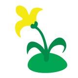 Flor amarilla en el césped stock de ilustración
