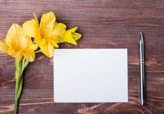 Flor amarilla, hoja de papel vacía y pluma en la tabla de madera Imagenes de archivo
