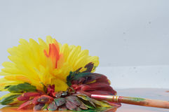 Flor amarilla pintada Fotografía de archivo
