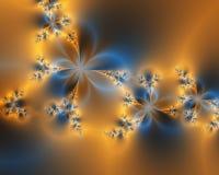 Flor anaranjada y azul de la perla del satén Foto de archivo
