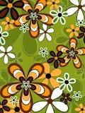 Flor anaranjada y verde retra Imagen de archivo libre de regalías