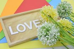 a flor artificial no fundo alaranjado, vermelho, azul e verde dá o conceito romântico do olhar com dois a joaninha a Imagens de Stock