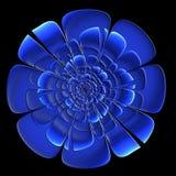 Flor azul bonita com efeito gravado no projeto do fractal AR imagens de stock