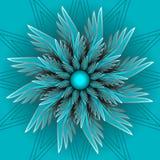 Flor azul da fantasia no estilo ótico da arte Forma decorativa de Semitranspatent com ilusão 3d Imagens de Stock