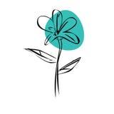 Flor azul da garatuja do esboço Imagem de Stock Royalty Free