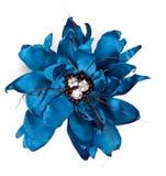 Flor azul de la tela con los cristales Foto de archivo