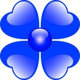 Flor azul de los corazones Foto de archivo libre de regalías