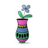 Flor azul en el florero colorized Fotos de archivo libres de regalías