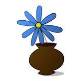 Flor azul en el pote colorized Foto de archivo