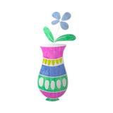 Flor azul en textura colorized florero Imagenes de archivo