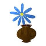 Flor azul en textura colorized pote Imagen de archivo