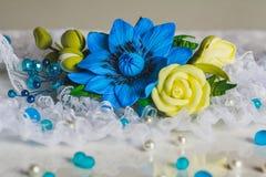 Flor azul jewerly Fotografia de Stock Royalty Free