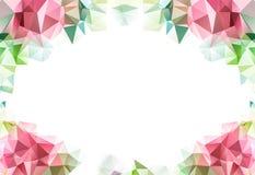 Flor baja del fondo del modelo del triángulo del polígono, pétalos y tarjeta en blanco para su texto en blanco imagen de archivo