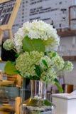 Flor blanca con la hoja verde en el tarro para la decoración interna imagenes de archivo