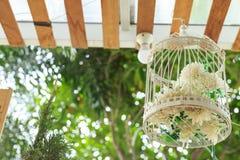 Flor blanca en una jaula Imagen de archivo libre de regalías