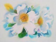 Flor blanca realista de las hojas de la trompeta y del verde de Herald Imágenes de archivo libres de regalías
