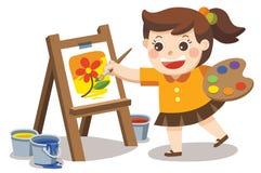Flor bonito da pintura da menina do artista na lona ilustração do vetor