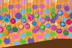 Flor bonito do gato do molde do círculo do cair Imagem de Stock
