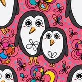 Flor bonito do pinguim que tira o teste padrão sem emenda Fotografia de Stock Royalty Free