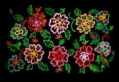 Flor bordada fundo fotografia de stock