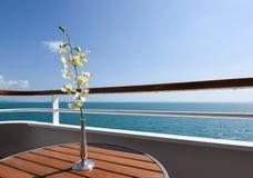 Flor branca da orquídea no balcão do navio de cruzeiros foto de stock
