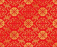 Flor chinesa dourada sem emenda da escada da espiral da geometria do fundo Imagens de Stock Royalty Free