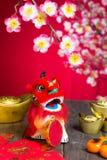 Flor chino del ciruelo de la decoración del Año Nuevo Fotos de archivo