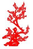 Flor chino del ciruelo del papel-corte fotografía de archivo