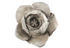 Flor cinzelada fora do mármore isolado no branco Foto de Stock Royalty Free
