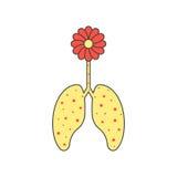 Flor coloreada y pulmones enfermos Fotografía de archivo