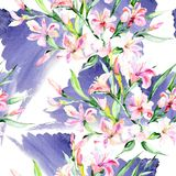 Flor colorida del alstroemeria del ramo de la acuarela Flor botánica floral Modelo inconsútil del fondo Fotos de archivo libres de regalías