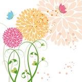 Flor colorida y mariposa de la primavera abstracta Imagen de archivo