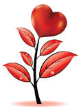 Flor com coração ilustração do vetor